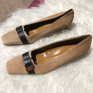 Gucci SZ 9 Pony Hair Heels Beige Loafer Shoes 👠